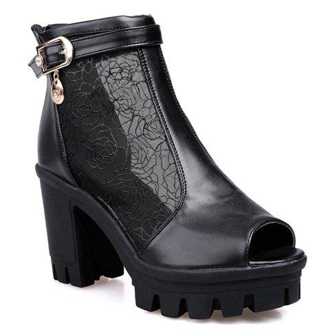 Fashionable Chunky Heel and Buckle Design Peep Toe Shoes For Women - BLACK 36