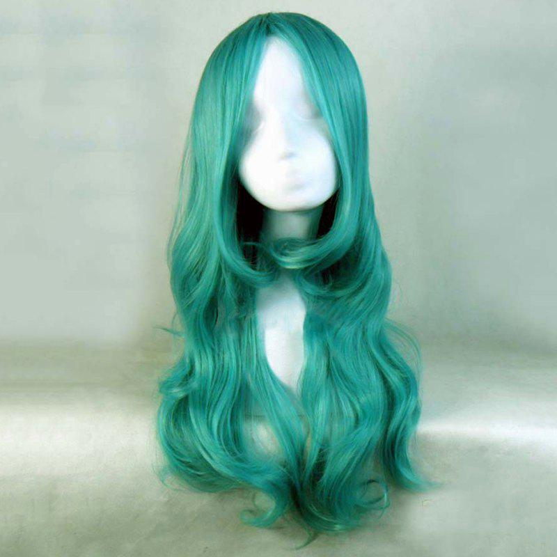 Shaggy Wavy Centre Parting Synthetic Charming Long Green Cosplay Wig For Women - GREEN