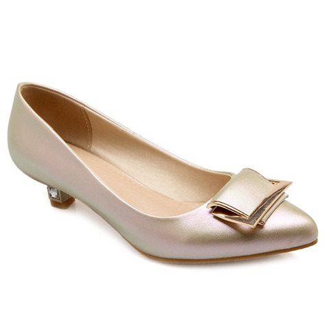 Sweet PU Leather and Pointed Toe Design Flat Shoes For Women