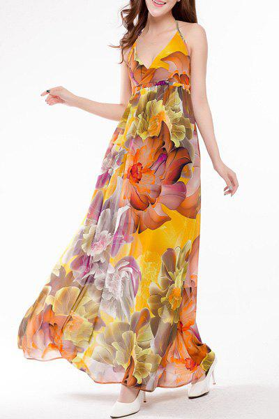 Sweet Halter Colorful Floral Print High Waist Maxi Dress For Women - L COLORMIX