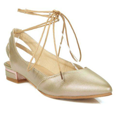 Graceful Pointed Toe and PU Leather Design Flat Shoes For Women - GOLDEN 38