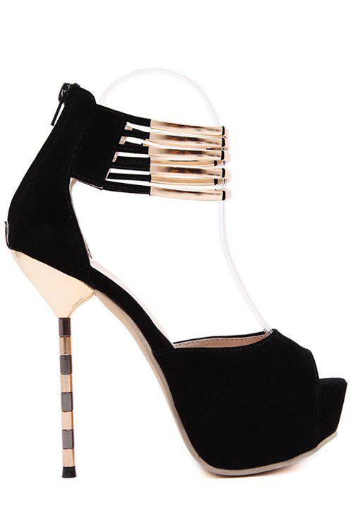 Sexy Metal and Platform Design Peep Toe Shoes For Women - BLACK 38
