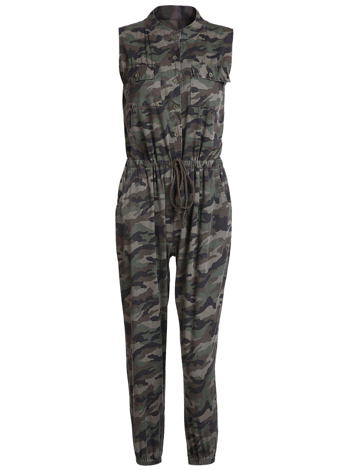 Chic Camouflage Printed V-Neck Sleeveless Waist Drawstring Jogger Jumpsuit For Women