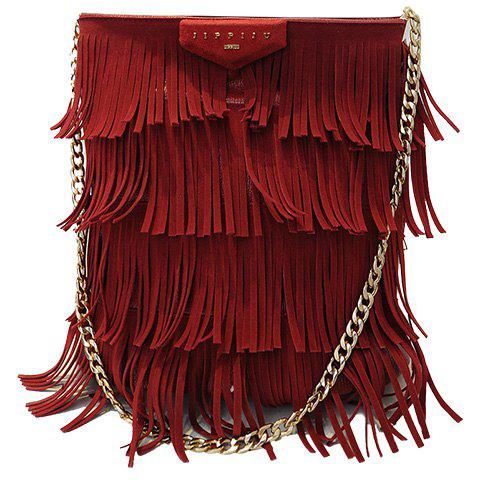 Stylish Fringe and PU Leather Design Shoulder Bag For Women