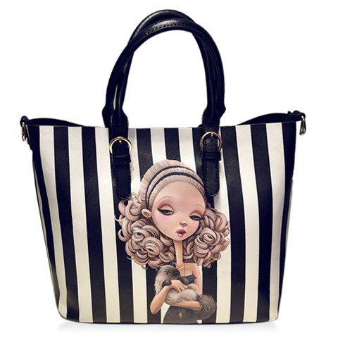 Fashion Character Print and Stripe Design Tote Bag For Women - WHITE/BLACK