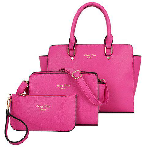 Gorgeous PU Leather and Letter Print Design Tote Bag For Women - ROSE