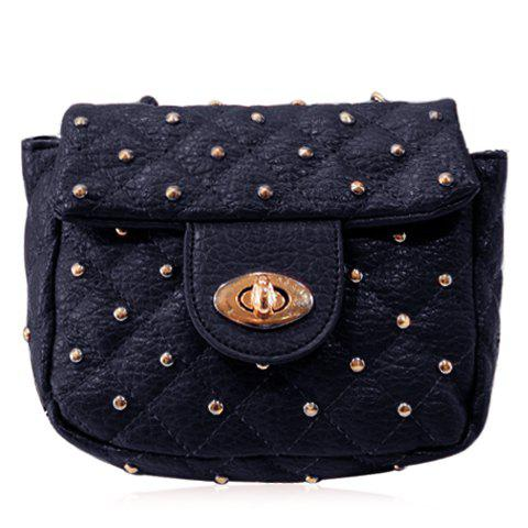 Trendy Rivets and PU Leather Design Crossbody Bag For Women