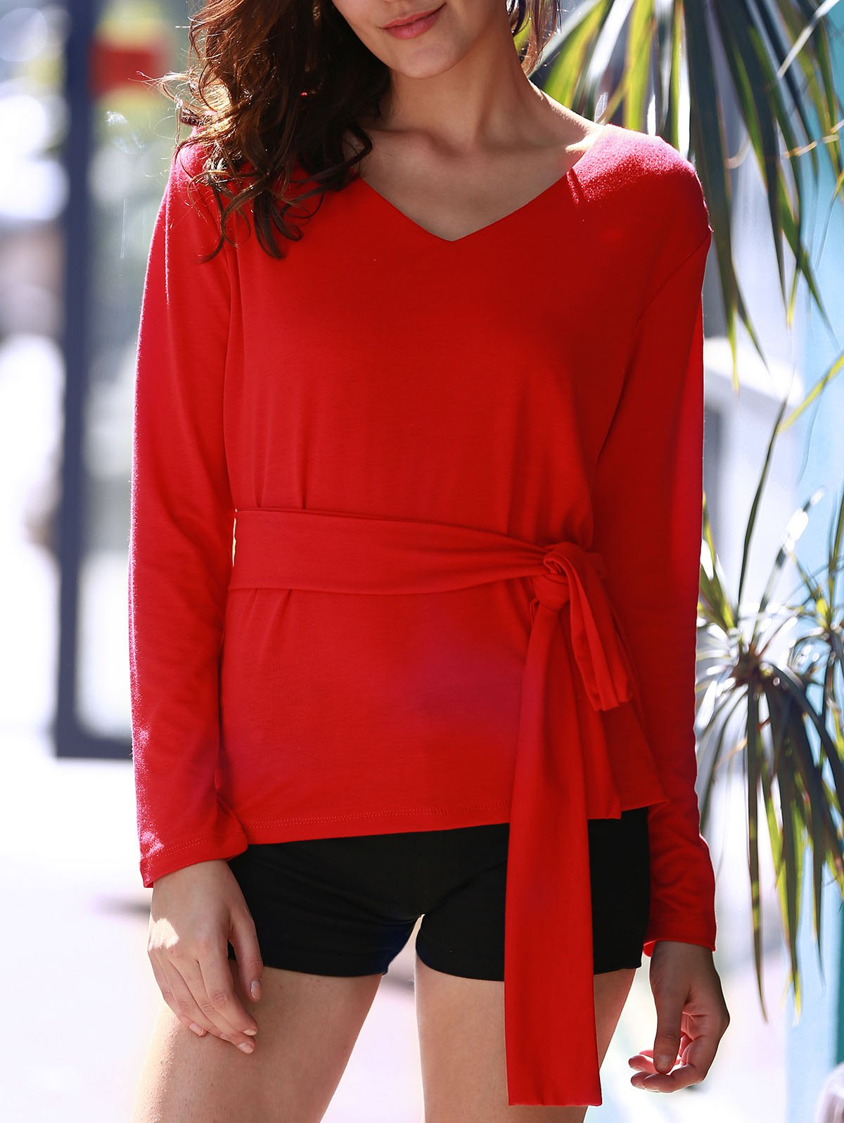 Stylish Red Long Sleeve V Neck Lace-Up Blouse For Women - RED XL