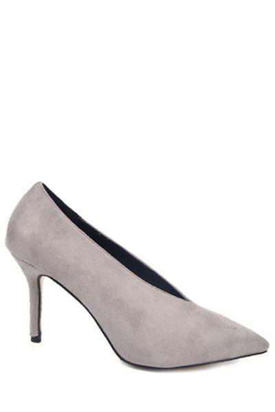 Trendy Flock and Pointed Toe Design Pumps For Women - GRAY 36
