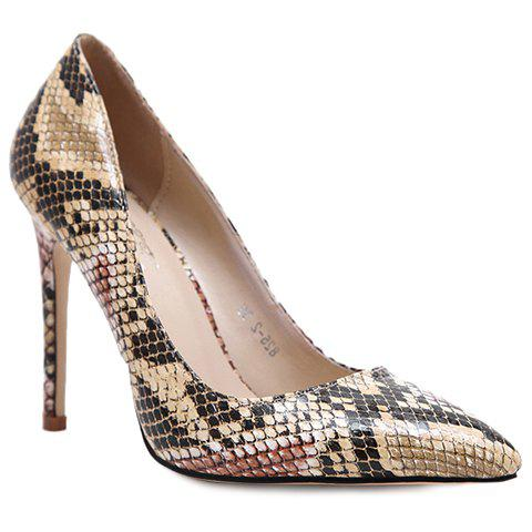 Stylish Snake Print and Slip-On Design Pumps For Women