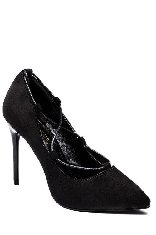 Stylish Cross-Strap and Flock Design Pumps For Women - BLACK 39