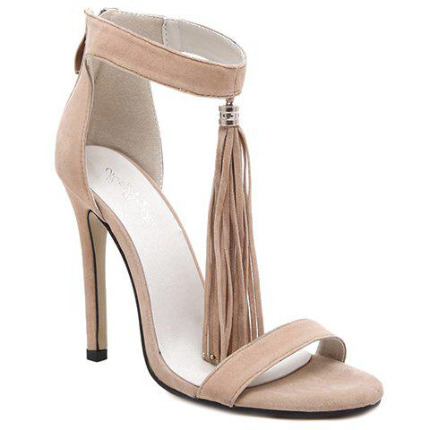Fashion Tassels and Zipper Design Sandals For Women - APRICOT 38