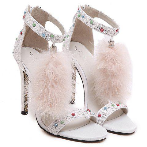 Fashionable Tassels and Zipper Design Sandals For WomenShoes<br><br><br>Size: 38<br>Color: WHITE
