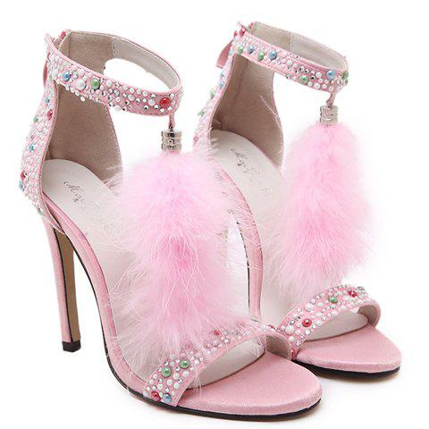 Fashionable Tassels and Zipper Design Sandals For Women - PINK 38