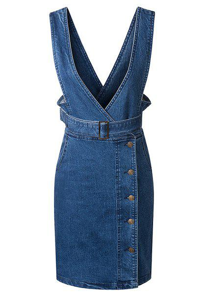 Stylish V-Neck Sleeveless Women's Denim Dress