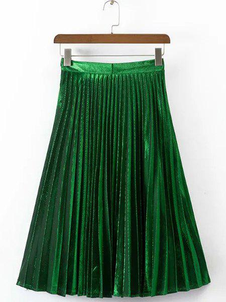 Stylish Zip Up Shining Women's Pleated Skirt - GREEN L