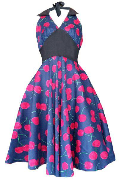 Endearing Halter Cherry Print High Waist Midi Dress For Women