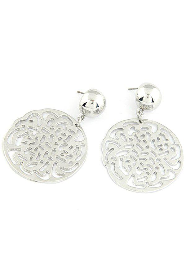Pair of Exquisite Rose Round Earrings For Women - SILVER