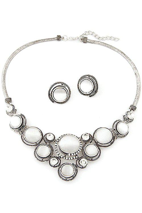 A Suit of Elegant Round Opal Necklace and Earrings For Women - SILVER