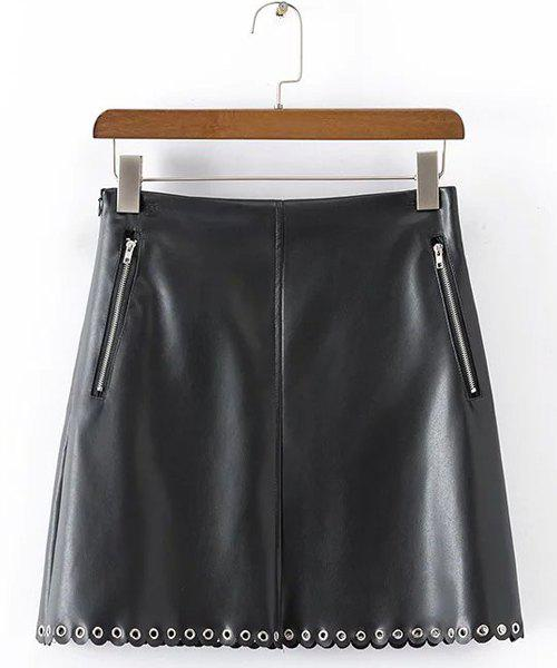 Stylish Zipped Design Women's Faux Leather Skirt - BLACK M