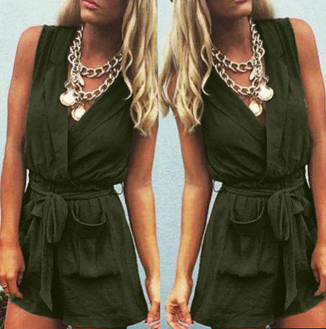 Casual Women's Turn-Down Collar Solid Color Romper - ARMY GREEN M