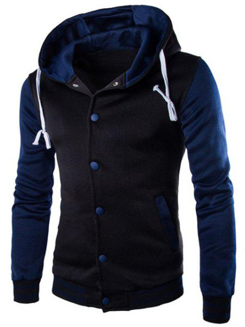 Slim Fit Single Breasted Color Block Hoodie For Men - CADETBLUE M