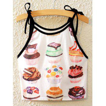 Stylish Spaghetti Strap Cake Print Lace-Up Women's Tank Top