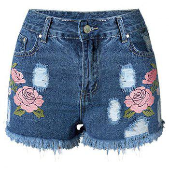 Frayed Denim Floral Embroidered Shorts