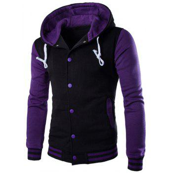 Slim Fit Single Breasted Color Block Hoodie For Men