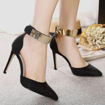 Trendy Ankle Strap and Suede Design Pumps For Women - BLACK 39