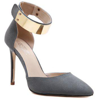Trendy Ankle Strap and Suede Design Pumps For Women - GRAY 39
