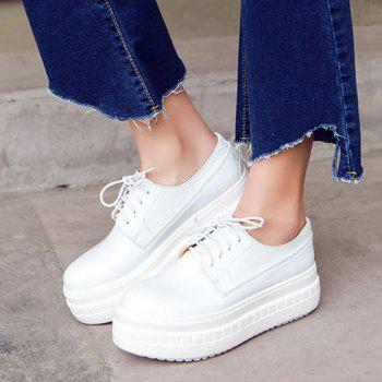 Simple Patent Leather and Lace-Up Design Platform Shoes For Women - WHITE 39