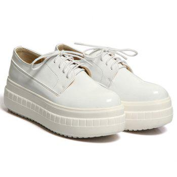 Simple Patent Leather and Lace-Up Design Platform Shoes For Women - 39 39