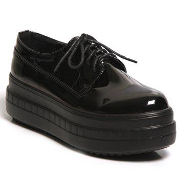Simple Patent Leather and Lace-Up Design Platform Shoes For Women
