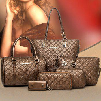 Elegant Checked and PU Leather Design Shoulder Bag For Women - COFFEE