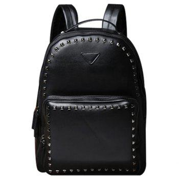 Stylish Rivets and Black Design Men's Backpack - BLACK BLACK