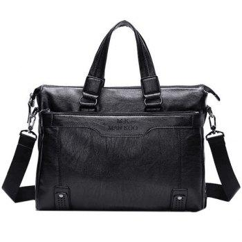 Concise Letter Print and Solid Color Design Men's Briefcase - BLACK BLACK