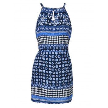 Ethnic Style Jewel Neck Sleeveless Printed Cut Out Women's Dress