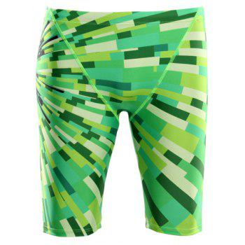 Elastic Waist Color Block Printing Quick-Dry Boxers Men's Swimming Trunks