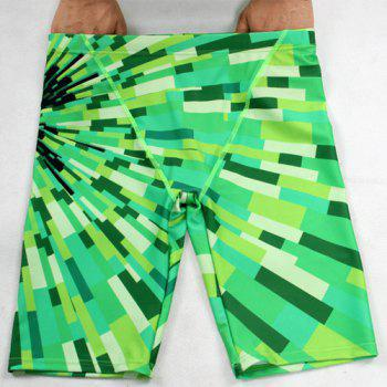 Elastic Waist Color Block Printing Quick-Dry Boxers Men's Swimming Trunks - GREEN XL