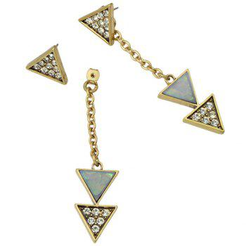 Rhinestoned Triangle Alloy Drop Earrings - GOLDEN