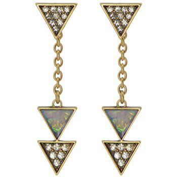 Rhinestoned Triangle Alloy Drop Earrings