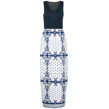 Sexy Women's V-Neck Sleeveless Printed Maxi Dress