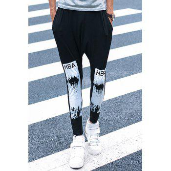 Casual Letter Printed Ankle-tied Harem Pants For Men