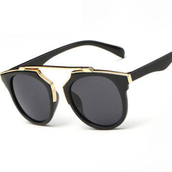 Chic Golden Metal Splicing Black Frame Women's Sunglasses -  DEEP GRAY