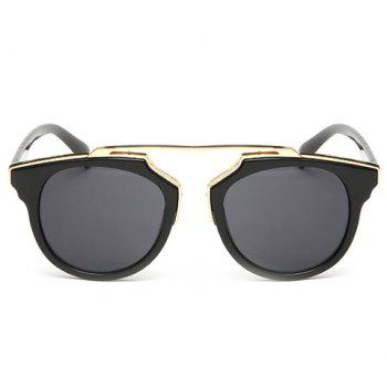 Chic Golden Metal Splicing Black Frame Women's Sunglasses - DEEP GRAY DEEP GRAY