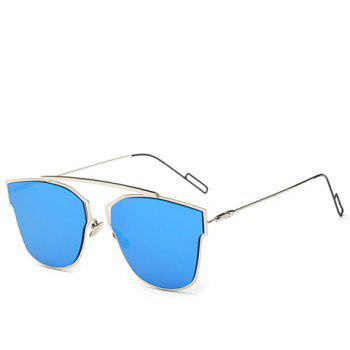 Chic Hollow Out Silver Metal Frame Women's Sunglasses - ICE BLUE