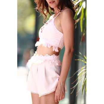 Stylish Cami Pink Crop Top and Tassels Shorts Women's Suit - LIGHT PINK LIGHT PINK
