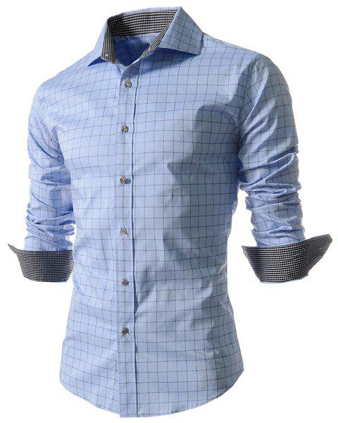 Casual Turn Down Collar Long Sleeve Checked Shirt For Men от Dresslily.com INT