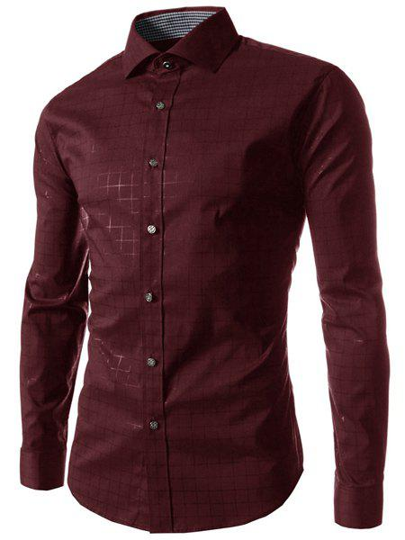 Casual Turn Down Collar Long Sleeve Checked Shirt For Men - WINE RED 2XL